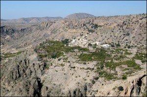 """Blick vom """"Diana's Viewpoint"""", der nach der englischen Prinzessin Lady Diana benannt wurde, die das Saiq-Plateau im Jahr 1990 besuchte, Oman"""